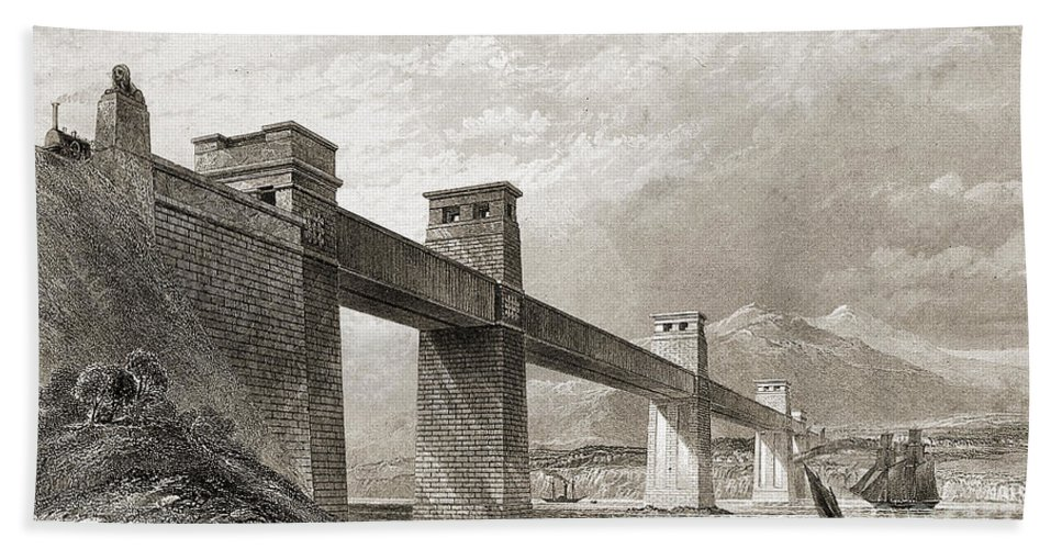 History Hand Towel featuring the photograph Britannia Bridge Across Menai Strait by Wellcome Images