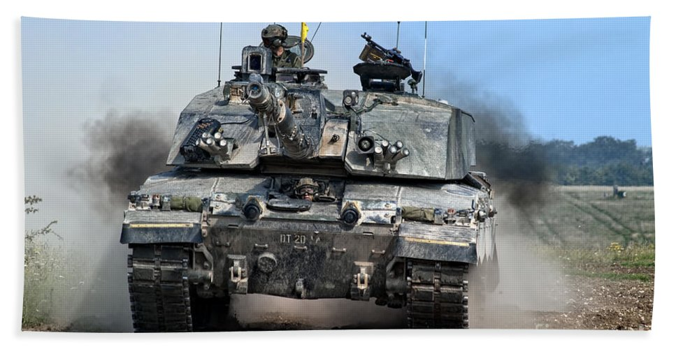 Challenger Hand Towel featuring the photograph British Army Challenger 2 Main Battle Tank  by Andrew Harker
