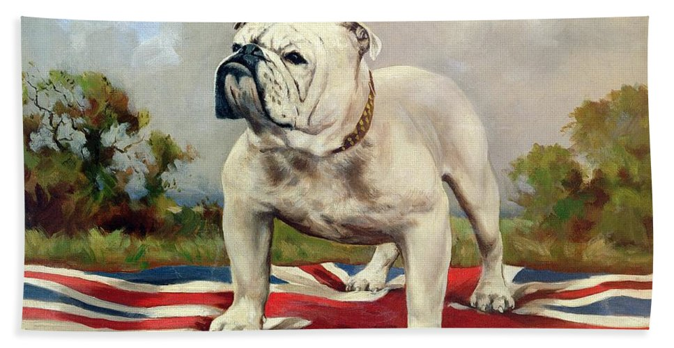 Grb; Union Jack; Dog Bath Towel featuring the painting British Bulldog by English School