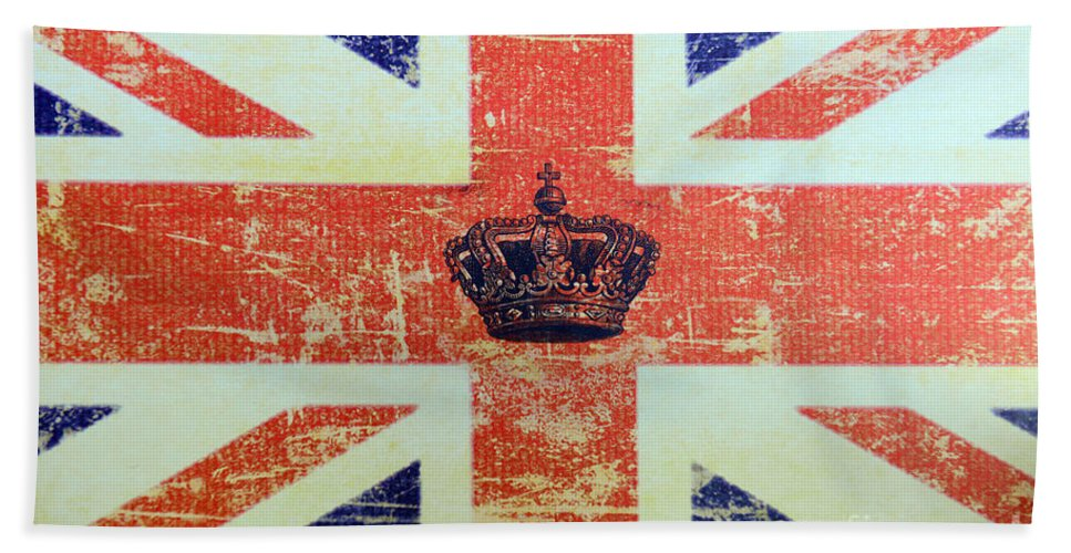 Paul Ward Hand Towel featuring the photograph British Flag And Royal Crown by Paul Ward