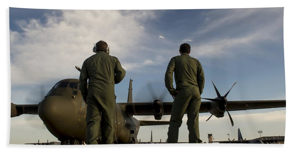 Exercise Emerald Warrior Bath Sheet featuring the photograph British Royal Air Force C-130j by Stocktrek Images