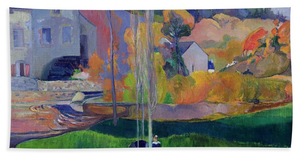 Brittany Landscape: The David Mill Hand Towel featuring the painting Brittany Landscape by Paul Gauguin