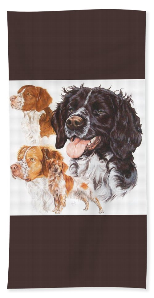 Sporting Group Hand Towel featuring the mixed media Brittany Spaniel by Barbara Keith