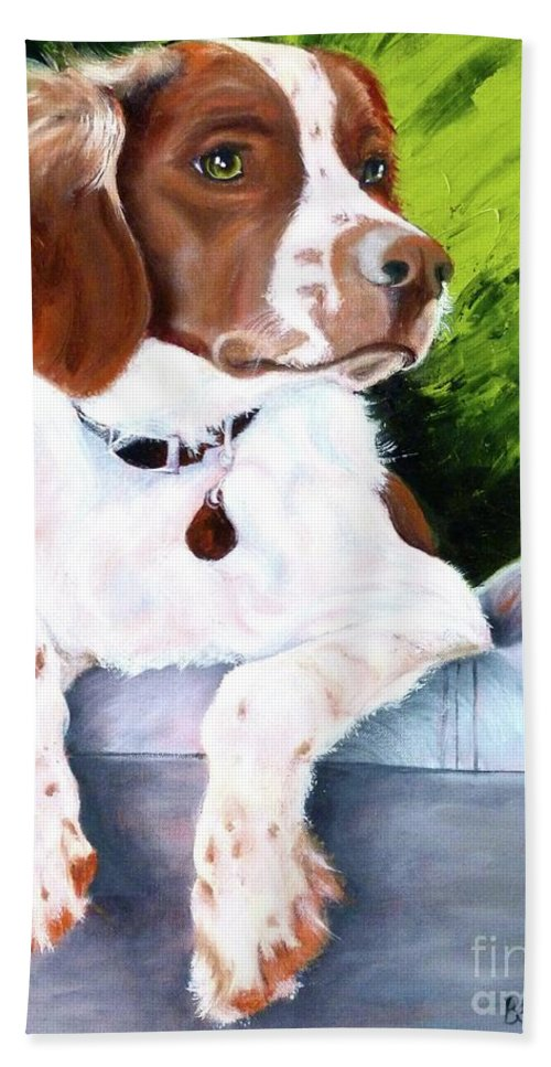 Spaniel Hand Towel featuring the painting Brittany Spaniel by Susan A Becker