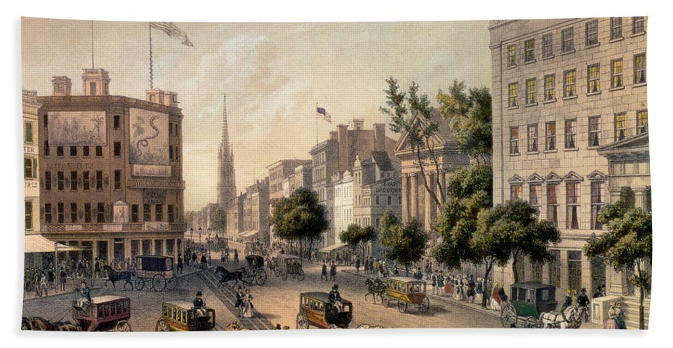 Broadway Bath Sheet featuring the painting Broadway In The Nineteenth Century by Augustus Kollner