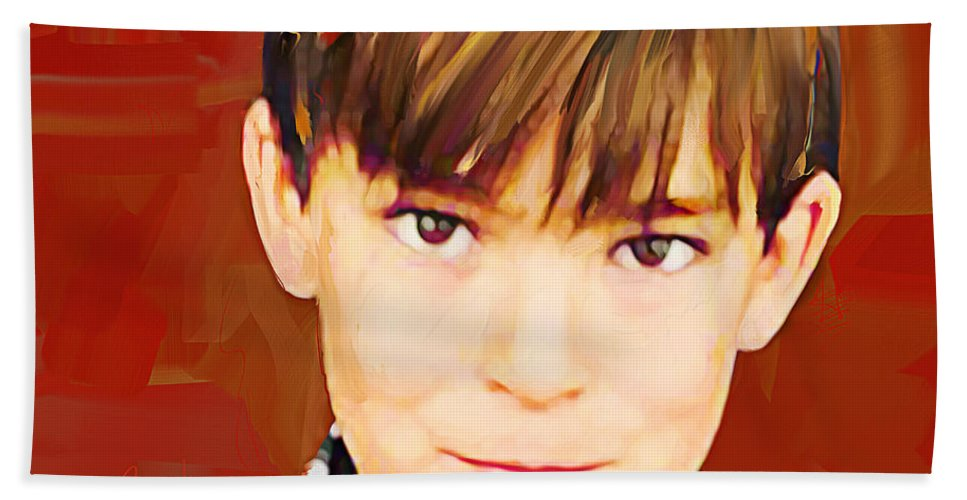 Portrait Hand Towel featuring the painting Brody by Jackie Jacobson