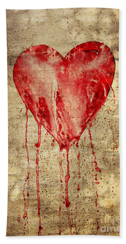Bleeding Bath Sheet featuring the digital art Broken And Bleeding Heart On The Wall by Michal Boubin
