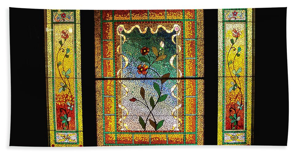 Stained Glass Bath Sheet featuring the photograph Broken Flowers by Donna Blackhall