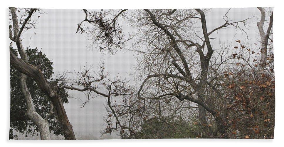 Fog Hand Towel featuring the photograph Broken Heart In Fog by Karen W Meyer