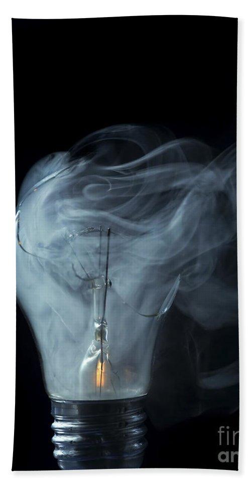 Light Bath Sheet featuring the photograph Broken Light Bulb by Michal Boubin