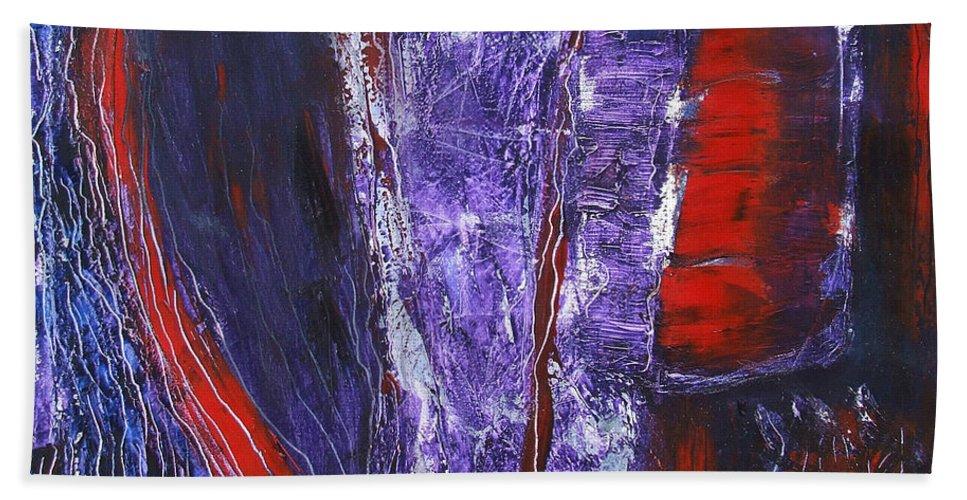 Katt Yanda Original Art Abstract Oil Painting Canvas Broken Heart Purple Red Hand Towel featuring the painting Broken Purple Heart by Katt Yanda