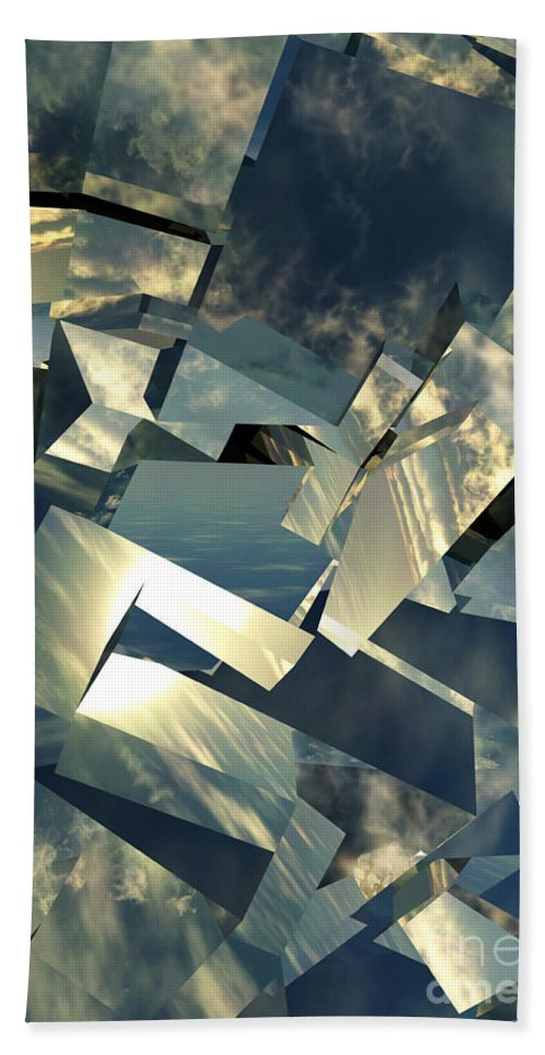 Skies Bath Towel featuring the digital art Broken Sky by Richard Rizzo