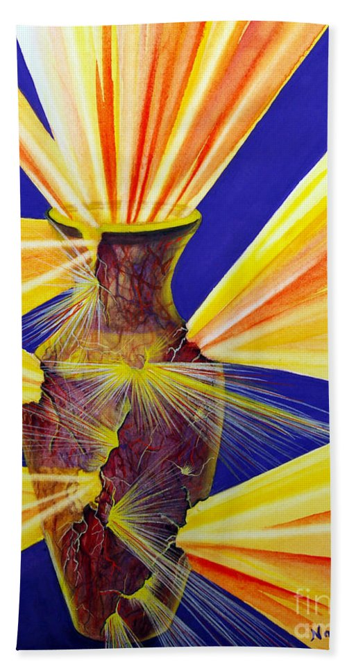God Hand Towel featuring the painting Broken Vessel by Nancy Cupp
