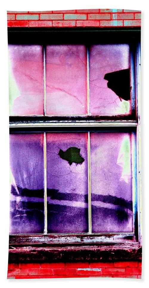 Window Hand Towel featuring the photograph Broken Window by Tim Allen