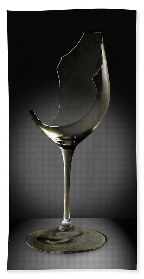 Glassware Bath Towel featuring the photograph Broken Wine Glass by Yuri Lev