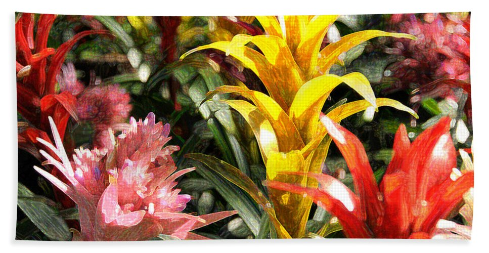 Impressionism Hand Towel featuring the photograph Bromeliads by Steven Sparks
