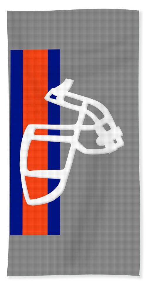 Broncos Hand Towel featuring the photograph Broncos Facemask Shirt by Joe Hamilton