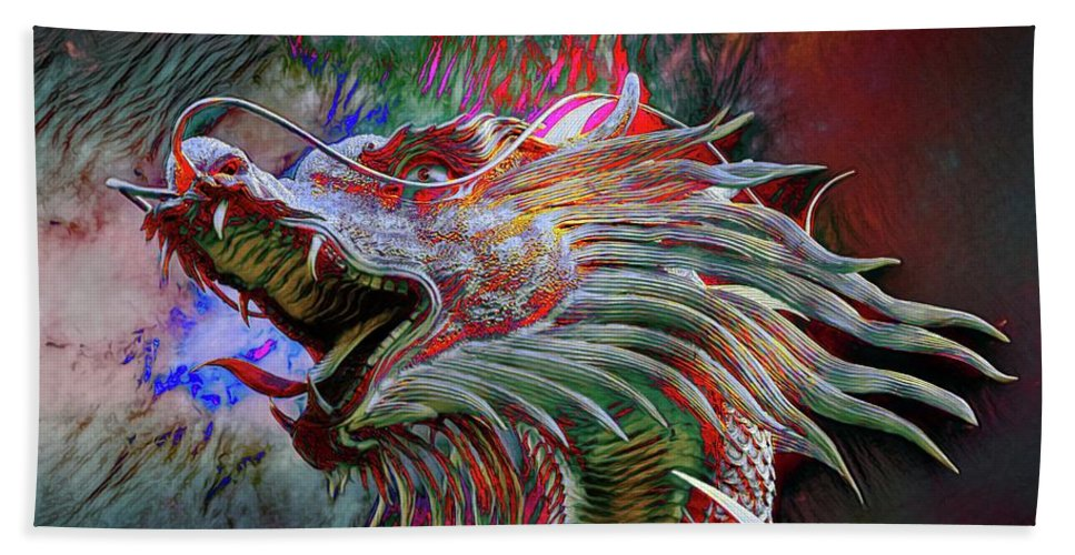 Abstract Hand Towel featuring the photograph Bronze Dragon Head by Robert Kinser