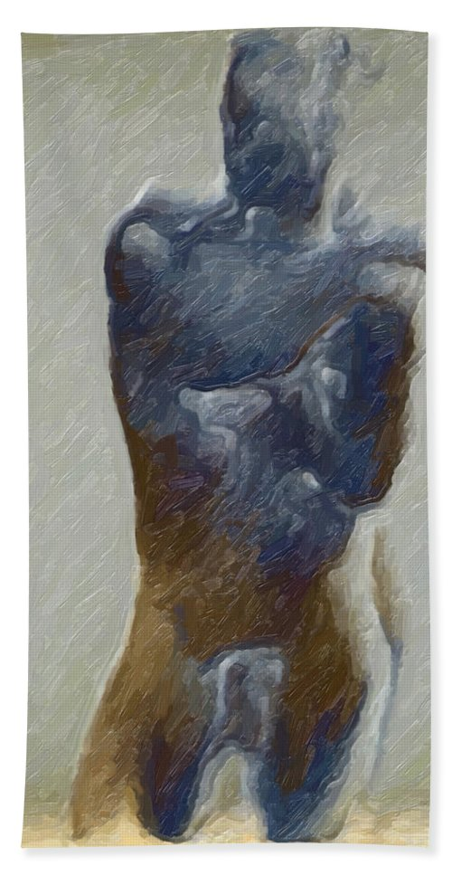 Bronze Hand Towel featuring the painting Bronze Statue by Joaquin Abella