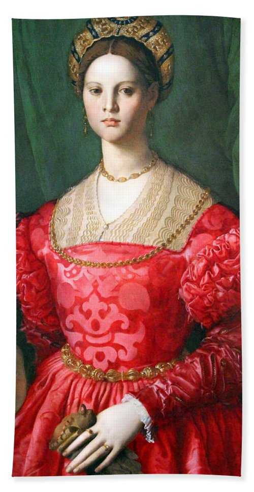 A Hand Towel featuring the photograph Bronzino's A Young Woman And Her Little Boy by Cora Wandel