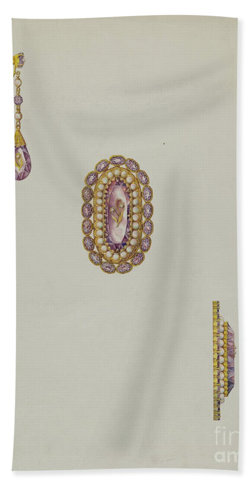 Hand Towel featuring the drawing Brooch And Earrings by John Thorsen