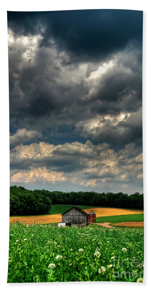 Old Barn Hand Towel featuring the photograph Brooding Sky by Lois Bryan