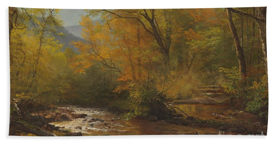 Landscape; Romantic; Romanticist; America; North America; American; North American; Landscape; Rural; Countryside; Wilderness; Scenic; Picturesque; Atmospheric; Brook; Babbling; Stream; River; Wood; Woods; Wooded; Forest; Autumn; Fall; Autumnal; Seasons; Calm; Peaceful; Tranquil Bath Towel featuring the painting Brook In Woods by Albert Bierstadt