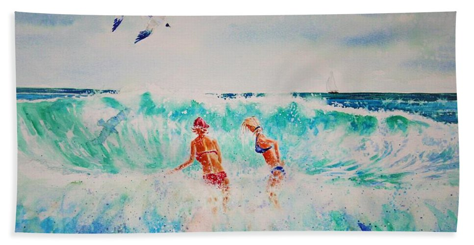 Surf Hand Towel featuring the painting Brooke And Carey In The Shore Break by Tom Harris