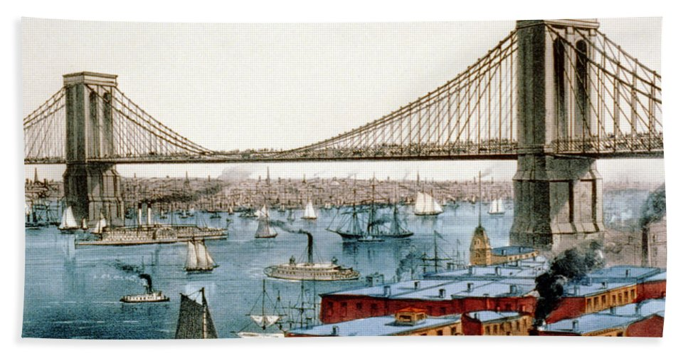 History Hand Towel featuring the photograph Brooklyn Bridge, 1872 by Science Source