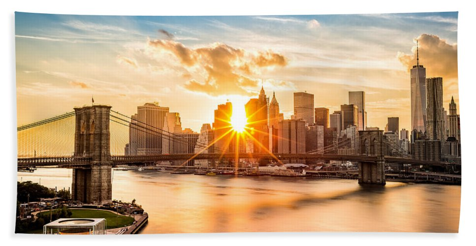 America Bath Towel featuring the photograph Brooklyn Bridge And The Lower Manhattan Skyline At Sunset by Mihai Andritoiu