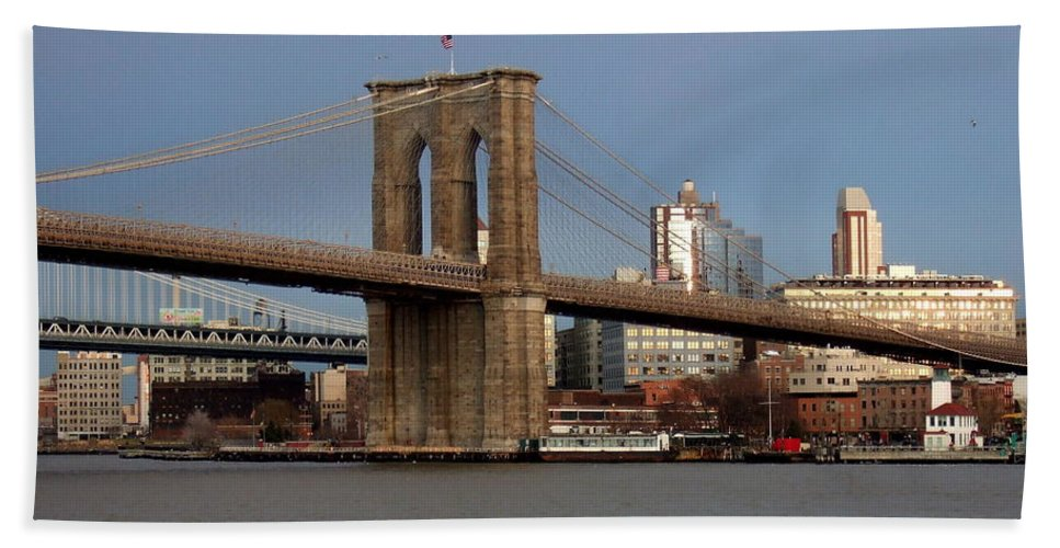 Brooklyn Bridge Bath Sheet featuring the photograph Brooklyn Bridge by Anita Burgermeister
