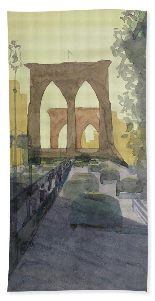 Brooklyn Bridge Hand Towel featuring the painting Brooklyn Bridge by Bethany Lee