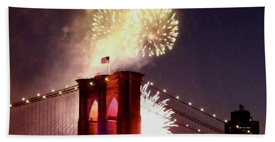 Brooklyn-bridge Hand Towel featuring the photograph Brooklyn Bridge Celebration by Kendall Eutemey