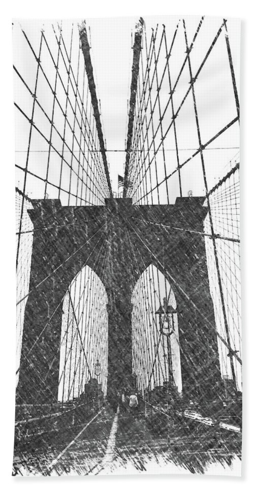 Brooklyn Hand Towel featuring the photograph Brooklyn Bridge by Dick Goodman