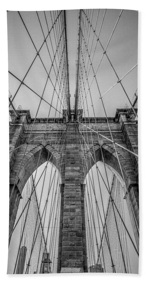 Brooklyn Bath Sheet featuring the photograph Brooklyn Bridge Goes Up by Brandi Fitzgerald