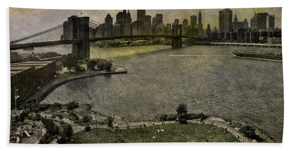 Bridge Hand Towel featuring the photograph Brooklyn Bridge Park by Chris Lord