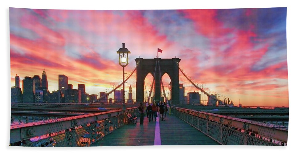 Brooklyn Hand Towel featuring the photograph Brooklyn Sunset by Rick Berk