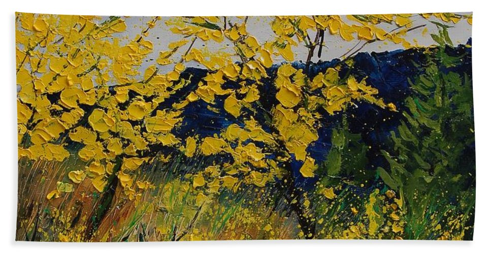 Flowers Hand Towel featuring the painting Brooms by Pol Ledent