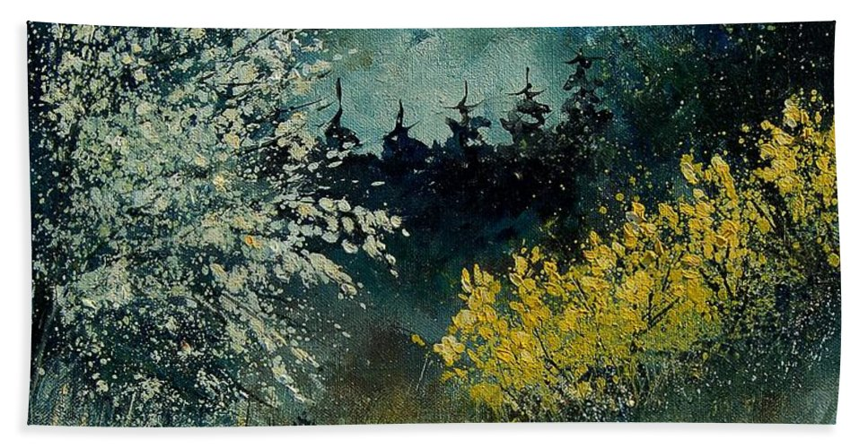 Spring Hand Towel featuring the painting Brooms Shrubs by Pol Ledent