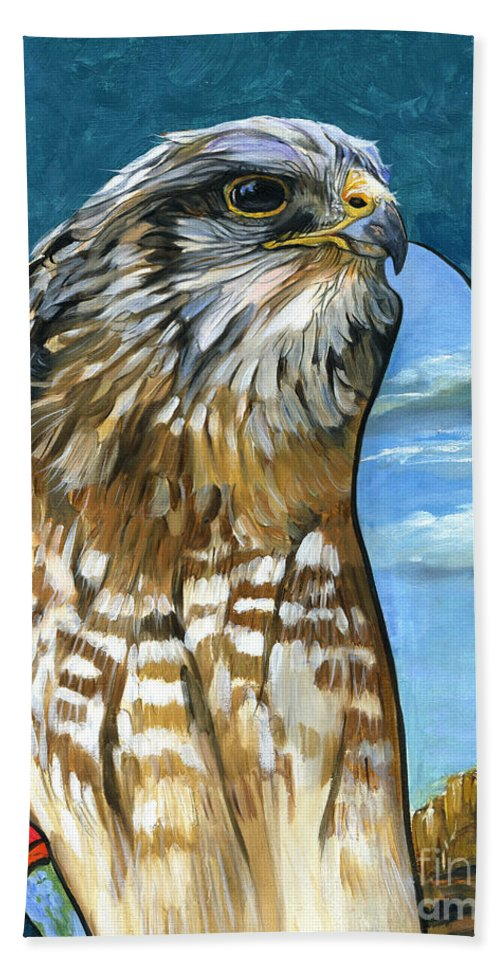 Hawk Bath Towel featuring the painting Brother Hawk by J W Baker