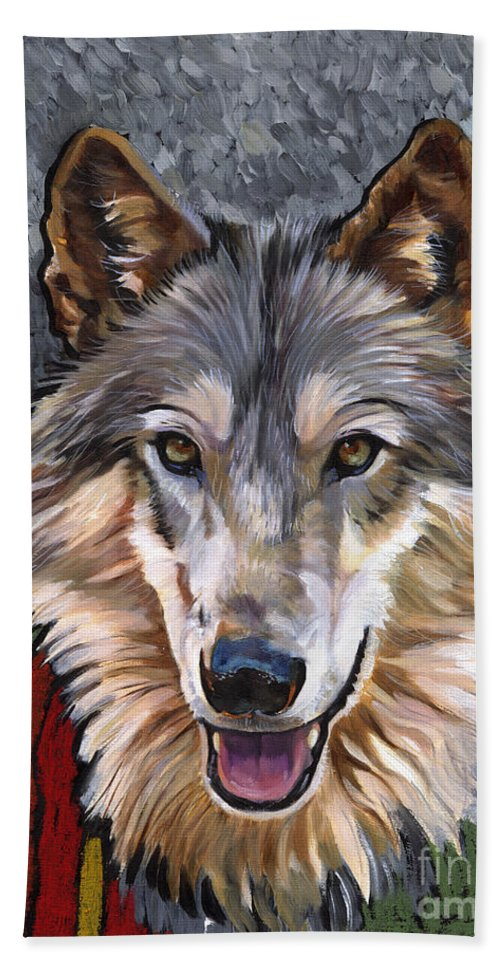 Wolf Bath Towel featuring the painting Brother Wolf by J W Baker