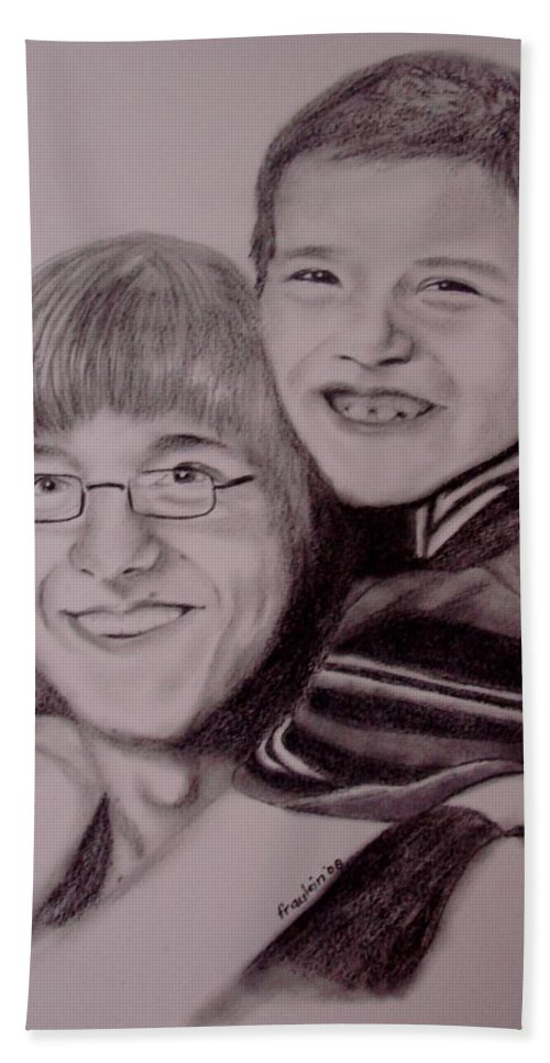 Portrait Bath Towel featuring the drawing Brothers For Life by Glory Fraulein Wolfe