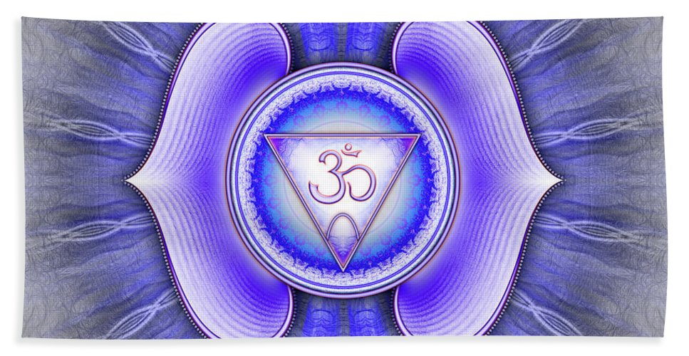 Chakra Bath Sheet featuring the digital art Brow Chakra - Series 4 by Dirk Czarnota