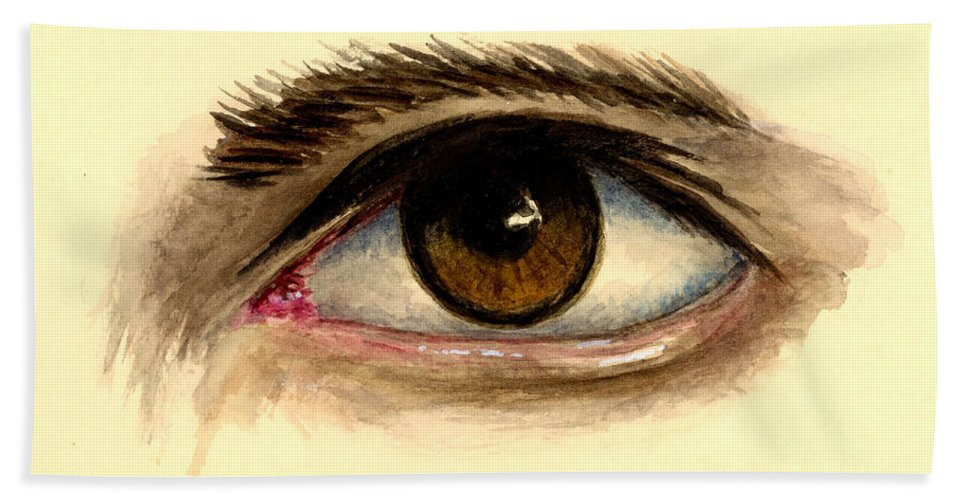 Eye Bath Sheet featuring the painting Brown Eye by Michael Vigliotti