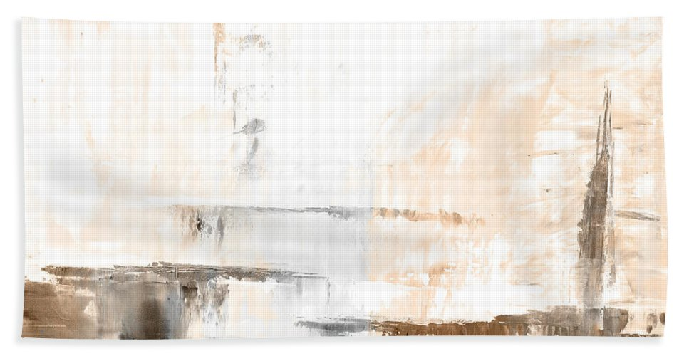 Brown Bath Sheet featuring the painting Brown Gray Abstract 12m4 by Voros Edit