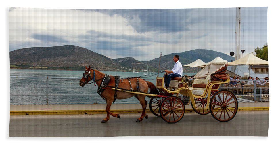 Boat Bath Towel featuring the photograph Brown Horse Drawn Carriage by Iordanis Pallikaras