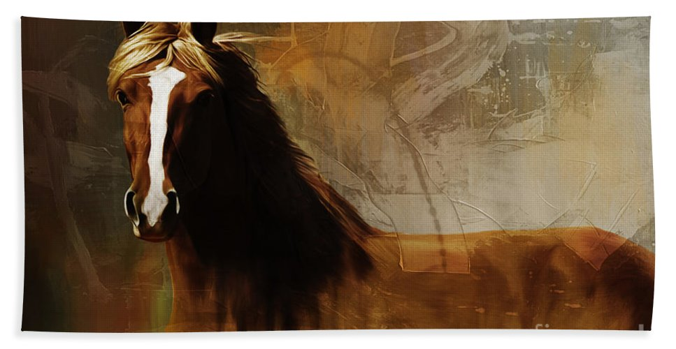Horse Paintings Bath Sheet featuring the painting Brown Horse Pose by Gull G