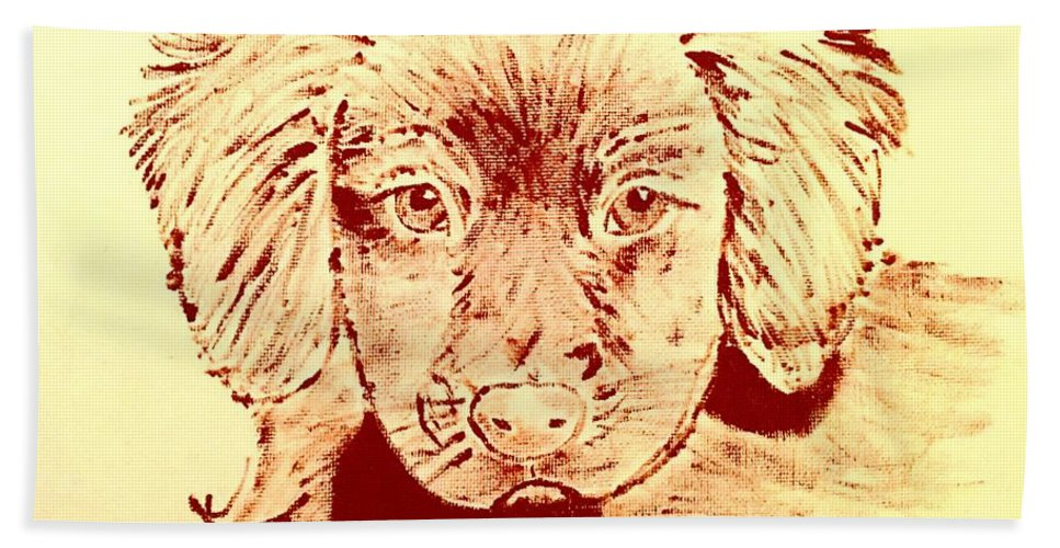 Bath Sheet featuring the painting Brown Puppy by Jack Bunds