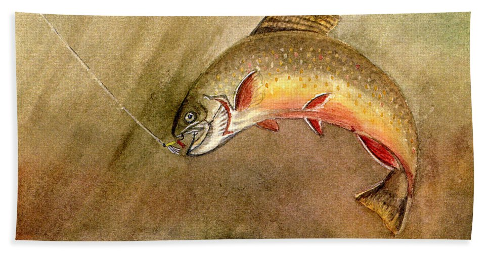 Trout Hand Towel featuring the painting Brown Trout by Mary Tuomi