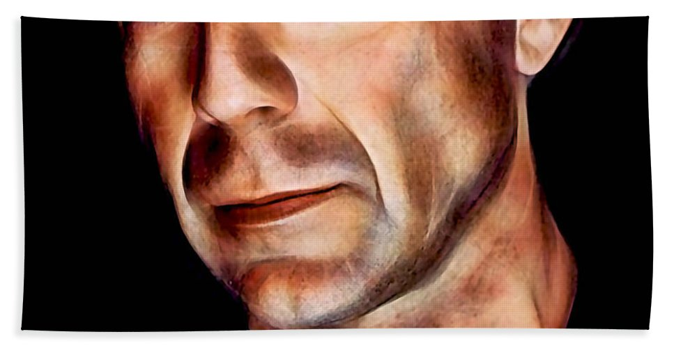 Bruce Willis Bath Sheet featuring the mixed media Bruce Willis Collection by Marvin Blaine